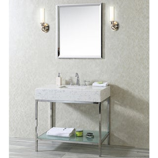Ariel Seacliff Brightwater Natural Stone and Glass 36-inch Single-sink Vanity in Carrera Quartz