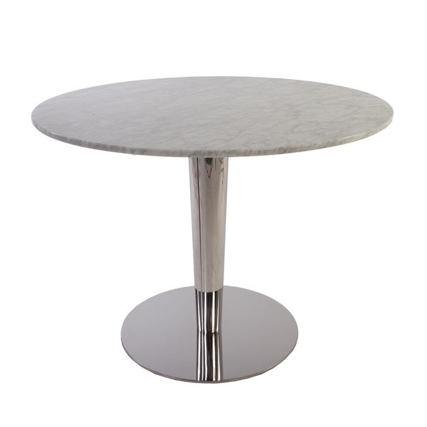 Hans Andersen Home Einan Mirrored Stainless Steel and White Marble Table