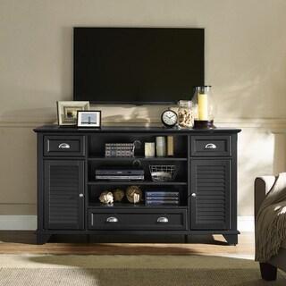 Crosley Furniture Palmetto Black Wood Full-size TV Stand