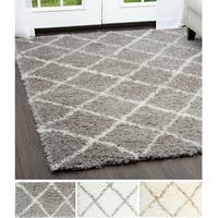 Home Dynamix - Glimmer Collection Trellis Shag Area Rug (7'10 X 10'2) - 7'10 x 10'2