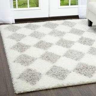 Home Dynamix Glimmer Collection Grey and Ivory Microfiber Shag Rug