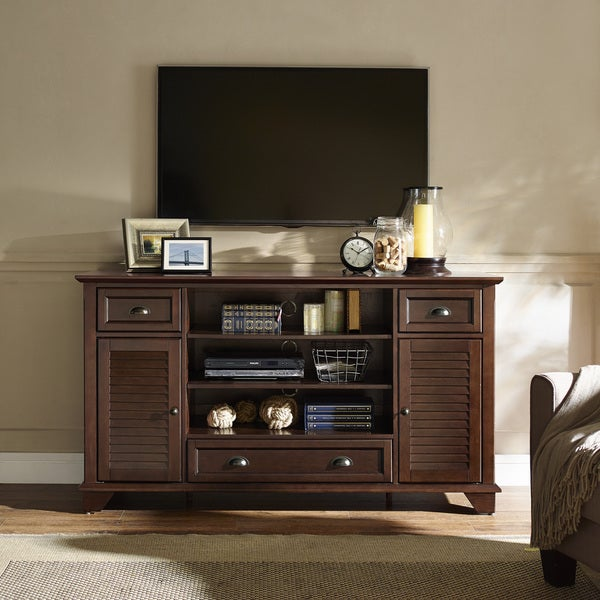 Crosley Furniture Palmetto Mahogany Wood 60 Inch Full Size TV Stand