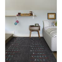 "Novogratz by Momeni District Charcoal Morse Code Rug (5' x 7'6"") - 5' x 7'6"""