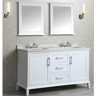 Ariel Seacliff Nantucket White 60-inch Double Basin Vanity and Mirror Set