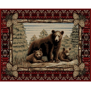 Rustic Lodge Grizzly Bear Red Area Rug (5'3 x 7'7)