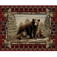 Rustic Lodge Grizzly Bear Red Area Rug - 5'3 x 7'7