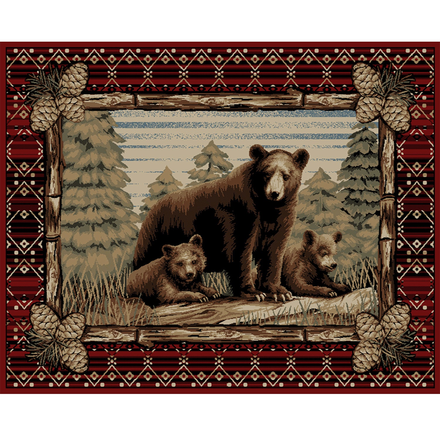 5/' Round Lodge Cabin Rustic Bear Pine Red Area Rug *FREE SHIPPING*
