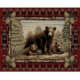 Link to Lodge King Grizzly Gap Rustic Bear Area Rug Similar Items in Rustic Rugs