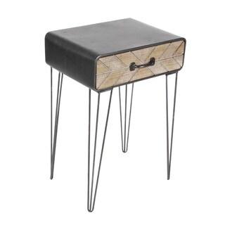 Benzara Black Metal and Wood End Table