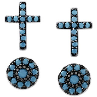 Dolce Giavonna Sterling Silver Simulated Nano Turquoise Cross and Circle Stud Earrings Set