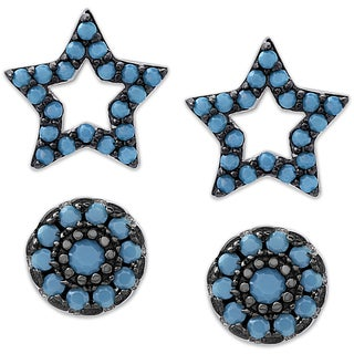 Dolce Giavonna Sterling Silver Simulated Nano Turquoise Star and Circle Stud Earrings Set