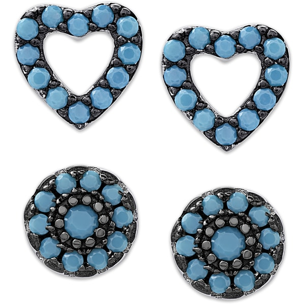 b04d01067 Dolce Giavonna Sterling Silver Simulated Nano Turquoise Heart and Circle Stud  Earrings Set - Blue