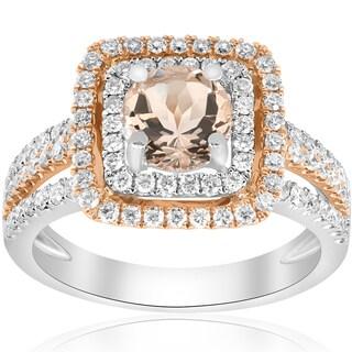 18K Rose & White Gold 1.73 ct TW Diamond & Morganite Double Cushion Halo Two Tone Engagement Ring (F-G,VS1-VS2)
