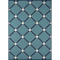 "Momeni Baja Nautical Rope Blue Indoor/Outdoor Area Rug - 8'6"" x 13'"