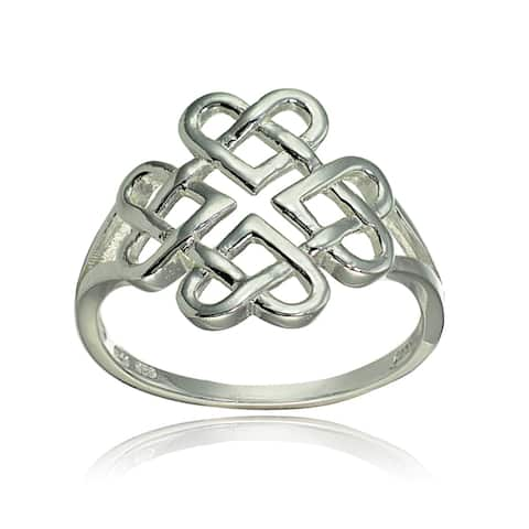 Mondevio Sterling Silver High Polished Cletic Love Knot Ring