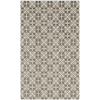 RUGGABLE Washable Indoor/ Outdoor Stain Resistant Accent Rug Floral Tiles Rich Grey & White (3' x 5') - 3' x 5'