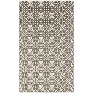RUGGABLE Washable Indoor/ Outdoor Stain Resistant Pet Accent Rug Floral Tiles Rich Grey & White (3' x 5') - 3' x 5'