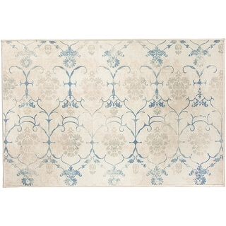 RUGGABLE Washable Indoor/ Outdoor Stain Resistant Accent Rug Leyla Creme Vintage (3' x 5') - 3' x 5'