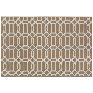 RUGGABLE Washable Stain Resistant Pet Accent Rug Modern Fretwork Rich Tan & White - 3' x 5'