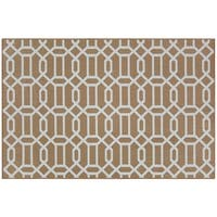 RUGGABLE Washable Indoor/ Outdoor Stain Resistant Pet Accent Rug Modern Fretwork Rich Tan & White (3' x 5') - 3' x 5'