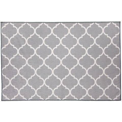 RUGGABLE Washable Indoor/ Outdoor Stain Resistant Pet Accent Rug Moroccan Trellis Light Grey (3' x 5') - 3' x 5'