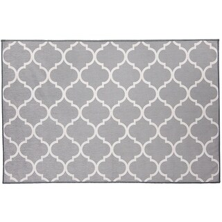 RUGGABLE Washable Indoor/ Outdoor Stain Resistant Pet Accent Rug Moroccan Trellis Light Grey (3' x 5') - 3' x 5'