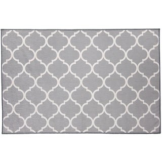 RUGGABLE Washable Stain Resistant Pet Accent Rug Moroccan Trellis Light Grey - 3' x 5'
