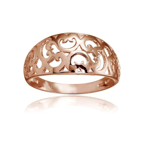 Mondevio Sterling Silver High Polished Filigree Ring