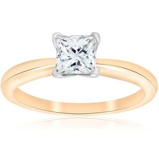 14K Yellow Gold 1 ct TDW Solitaire Princess Cut Diamond GIA Certified Engagement Ring (E-VS2)