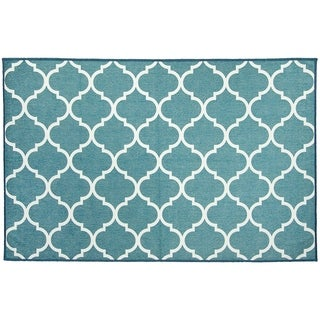 RUGGABLE Washable Indoor/ Outdoor Stain Resistant Pet Accent Rug Moroccan Trellis Teal (3' x 5') - 3' x 5'