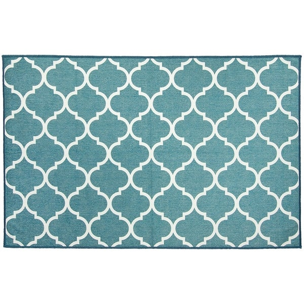 RUGGABLE Washable Stain Resistant Pet Accent Rug Moroccan Trellis Teal - 3' x 5'