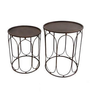 Three Hands Set Of Two Metal Accent Table