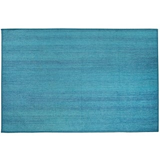 RUGGABLE Washable Indoor/Outdoor Stain Resistant Accent Rug Solid Textured Ocean Blue (3' x 5')