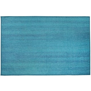 RUGGABLE Washable Stain Resistant Pet Accent Rug Solid Textured Ocean Blue - 3' x 5'