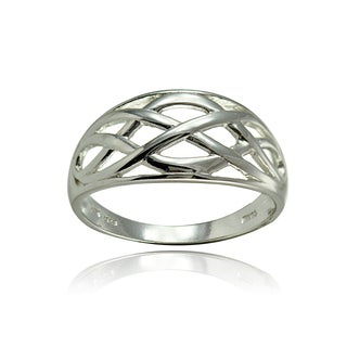 Mondevio Sterling Silver High Polished Filigree Knot Ring