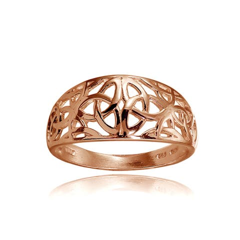 Mondevio Sterling Silver High Polished Filigree Cletic Knot Ring