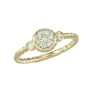 """Antwerp's """" Fashion Pave Cluster"""" ring with rope accent band"""