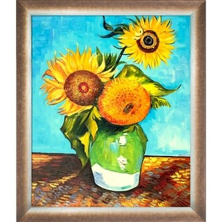 Vincent Van Gogh 'Sunflowers, First Version' Hand Painted Framed Oil Reproduction on Canvas