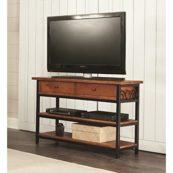 Shop Artesian Wood Metal Scroll 48 Inch W Tv Stand Free Shipping
