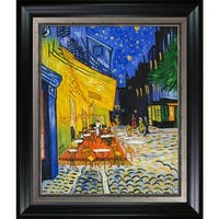 Vincent Van Gogh 'Cafe Terrace at Night' (Luxury Line) Hand Painted Framed Oil Reproduction on Canvas