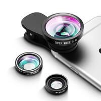 3 in 1 Fisheye Lens Plus Macro Lens Plus 0.4x Super Wide Angle Lens Plus 2 Detachable Clamps, Camera Lens Phone Lens Kit