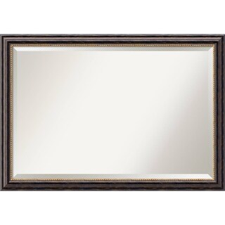 Wall Mirror Extra Large, Tuscan Rustic 40 x 28-inch - Black/Brown