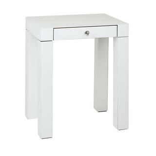 Ave Six Reflections Accent Table With White Glass Finish And Crystal Knob
