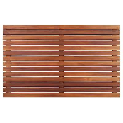 Teak Slatted Brown Wood Shower Mat