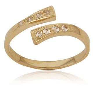 10k Round Cubic Zirconia Bypass Adjustable Toe Ring