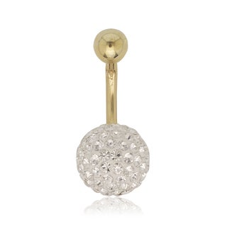10K Crystal 10 mm Ball Naval Belly Ring (Yellow or White Gold)