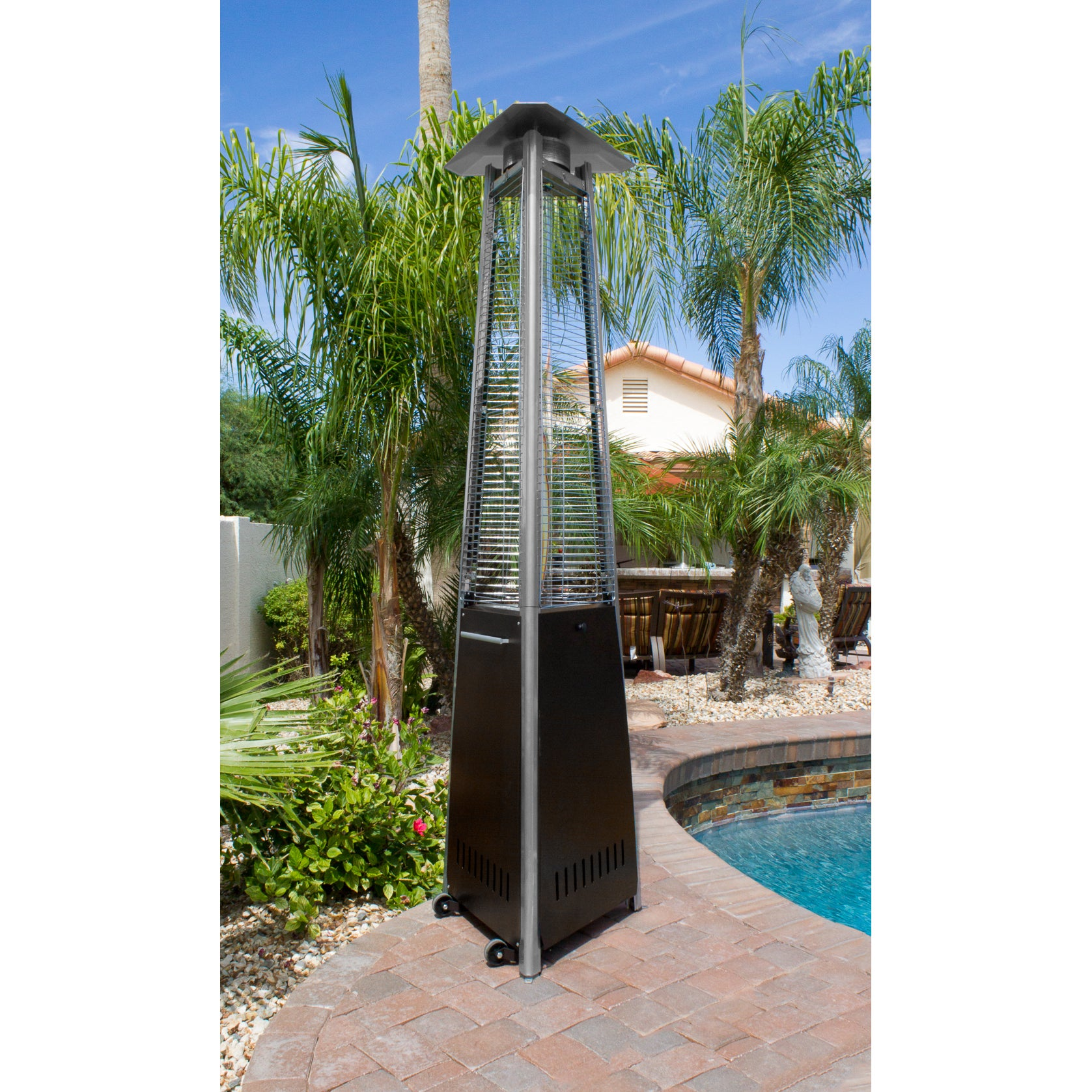 Hiland Glass Tube Natural Gas Patio Heater (NG-GT-BRZ), B...