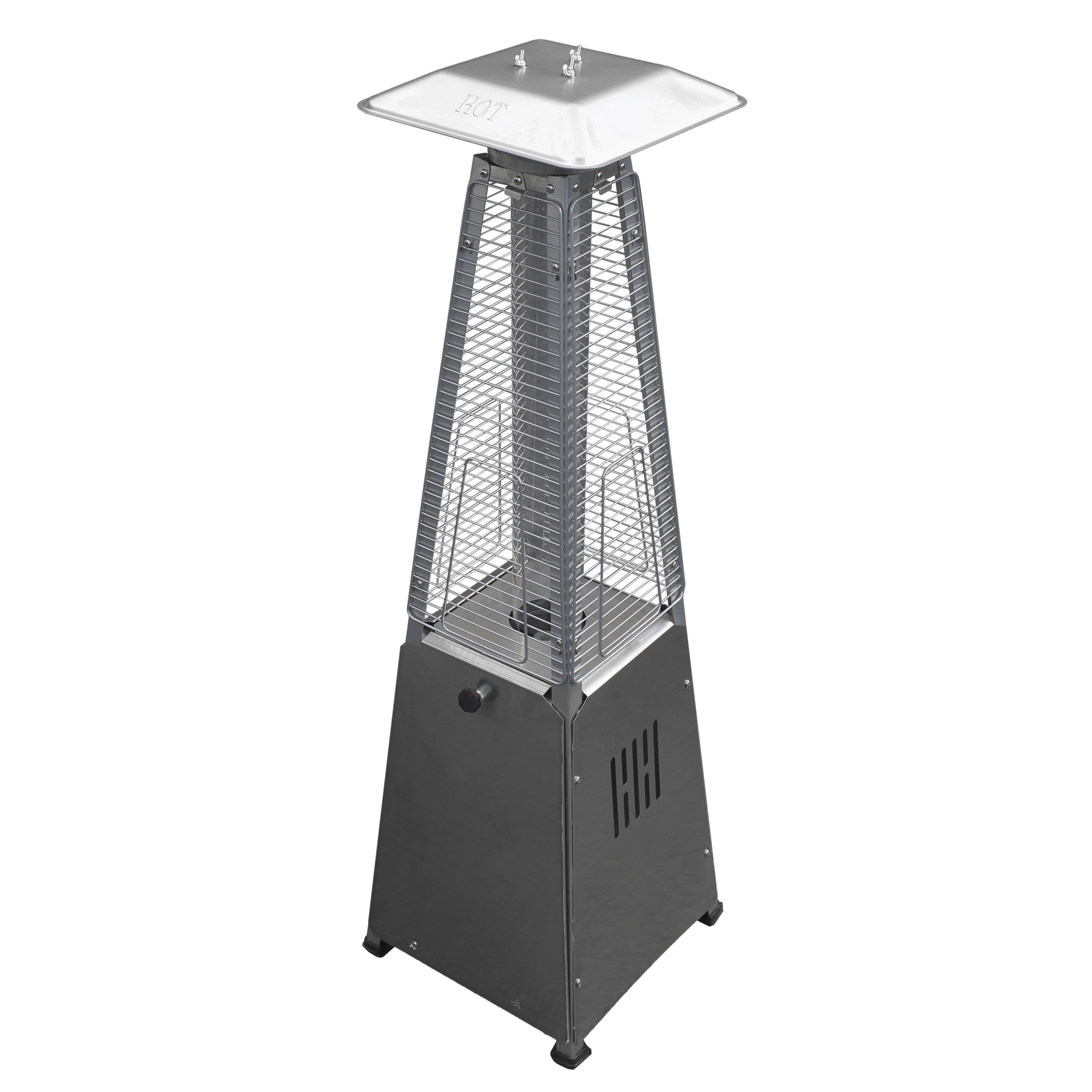 Hiland Glass Tube Table Top Patio Heater in Stainless Ste...