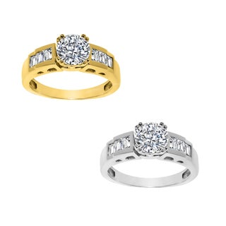 14k Yellow or White Gold Round-cut Cubic Zirconia with Side Stones Engagement Ring