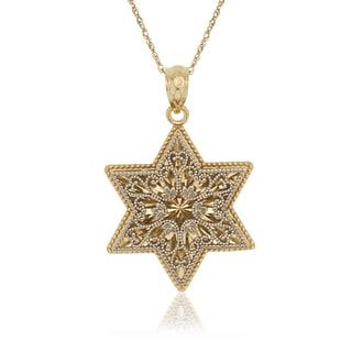 14k Gold 16-inch Two-Tone Diamond-cut Dimensional Filigree Star of David Pendant Necklace